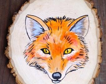 Fox Wood Slice Painting
