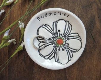 Godmother Gift, ring dish, ring holder, white flower, handmade earthenware pottery, Gift Boxed, IN STOCK