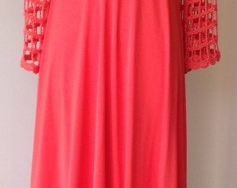 Vintage 1970's red crochet bell sleeved dress/ bohemian