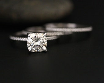 3 Rings Moissanite Engagement Ring and Diamond Half Eternity Bands 14k White Gold with FB Moissanite Cushion 2.00cts