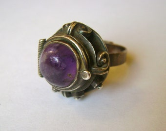 vintage mexican amethyst poison ring, adjustable