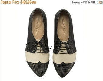 WINTER SALE Black and white oxford shoes, Polly Jean, B&W, handmade, flats, leather shoes, by Tamar Shalem on etsy