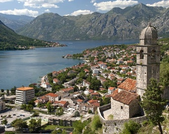 Randomings, Montenegro, old church, ocean, adriatic sea, , mountains, big blue sky, old city, zen, fine art photograph picture office print