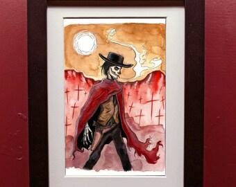 Gunslinger Print in 4 by 6 Black Frame