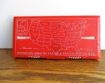 Vintage Sterling Educator States and Capitals Pencil Case