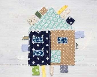 cotton taggie toy, baby shower gift, new baby gift, sensory toy, baby taggy