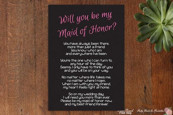 Maid of honor poem | Etsy