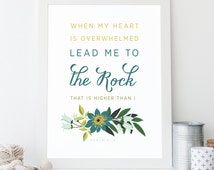Bible Verse Art  -  Psalm 61:2 - Scripture Print - Encouraging Wall Art - Wall Quote - Typographic Print - Christian Typography - Bible Art