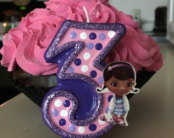 3 inch tall Doc McStuffins birthday candle - any number