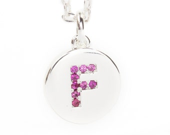 Letter F on Silver Plated Disc, Fuchsia CZ Pave Letter Charm, Initial Pendant, 11mm Dia., 2.5mm Thick, Alphabet Charm, C0UM.SI.RH09.F.P01