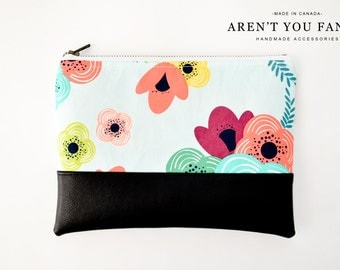 Cosmetic Bag, Clutch, Make-up Bag, Pouch, Floral, Cotton and Faux Leather by Aren't You Fancy