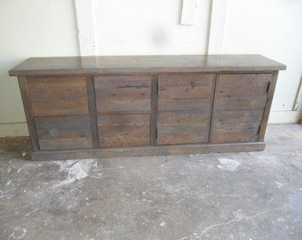 File cabinet custom made from reclaimed wood in the USA