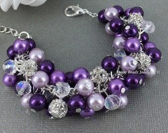 Purple Lilac Plum Rhinestones Pearl Cluster Bracelet Purple Bracelet Shade of Purple Bracelet Purple Bracelet