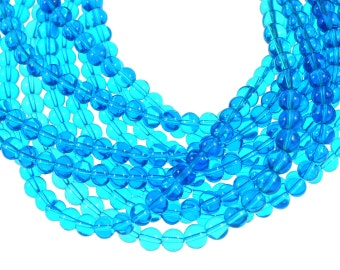 Clear Bright Cyan Blue 10mm Round Glass Beads - Full 16 inch strand - Approximately 43 beads
