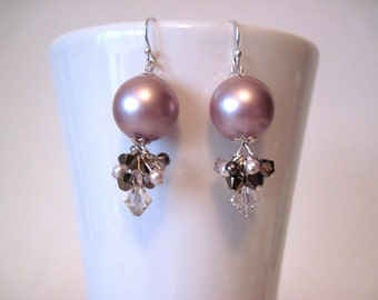 Rose pearl earrings  pink earings  handmade earrings