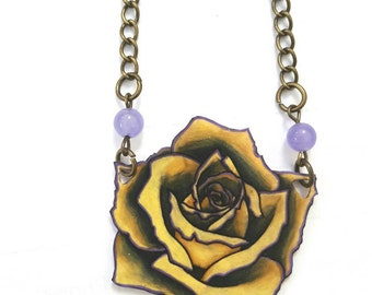 Yellow Rose Shrink Paper Necklace