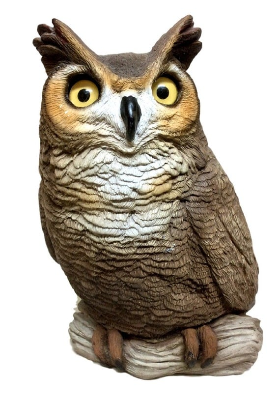 Items similar to farmhouse decor owl figurine rustic home for Owl decorations for the home