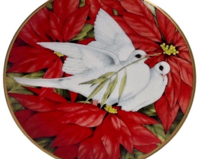 Vintage Christmas Doves Plate, Franklin Mint, Red Poinsettia Flowers, Christmas Plate,American Lung Assoc. - Christmas Decor - Vintage