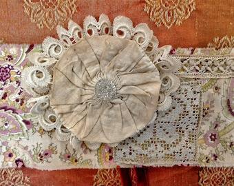 Boho headband bandana flapper headdress shabby upcycled vintage textile