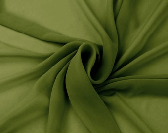 Olive B Solid Hi-Multi Chiffon Fabric by the Yard, Chiffon Fabric, Wedding Chiffon, Lightweight Chiffon Fabric - Style 500