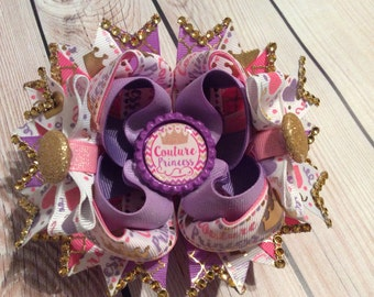 Couture Princess stacked Bow, Purple Bow, Pink Bow, Gold Bow, Hair Bow, Couture Princess, Hair Accessories, Big Bow, Girls Hair Bow