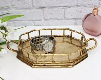 Brass Bamboo Vanity Tray - Small Brass Tray - Business Card Holder - Jewelry Tray - Perfume Tray - Brass Catchall - Brass Collection