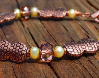 Light Yellow Pearls, Czech Glass and Copper beaded Bracelet