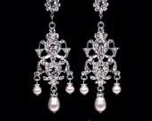 """Bridal earrings rhinestone and pearl chandelier earrings wedding jewelry crystal Swarovski """"Crowning Glory"""" earrings"""