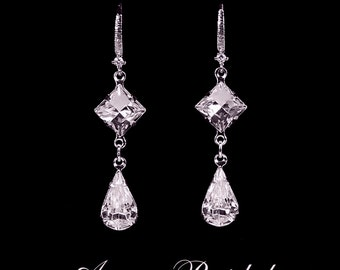 "Wedding, bridal jewelry, small crystal teardrop earrings, bridal, rhinestone, silver, ""Her Grace"" earrings"