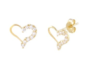 14k Yellow Gold Heart Stud Earrings 8mm x 9mm Micropave CZ