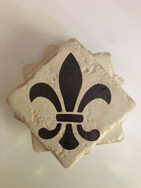Fleur De Lis Travertine Tile Coasters Gift