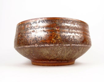 Medium bowl in bright copper brown and olive green interior