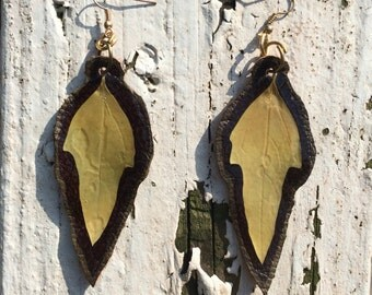 Green dagger Leaf and Leather earrings