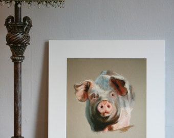 Pig Snout - Limited edition giclee print from original pastel drawing by Imogen Man