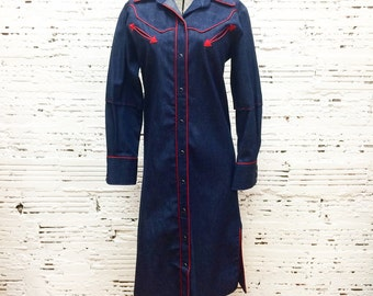 Denim Western Dress - Small