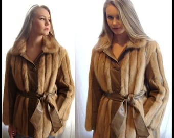 ON SALE vintage honey mink and leather jacket, cape back, honey mink coat, belted, taupe leather, mink coat, mink jacket, size medium