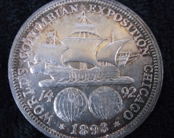 1893 Columbian Exposition Half Dollar, MS-63, Chicago, Silver, World's Fair, Columbus