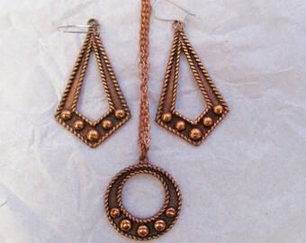 Navajo Necklace Earring Set Vintage Unworn Solid Copper