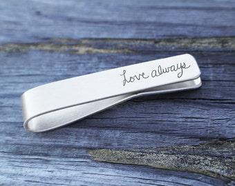 Handwriting Jewelry - Men's Personalized Gifts - Signature handwriting tie bar - men's memorial gift - engraved tie bar - custom tie bar