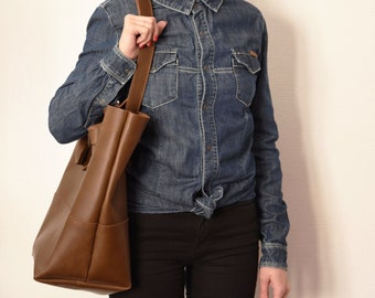 Big leather Shopping bag Mia - Brown - Oiled Calf leather