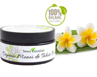 Organic Monoi de Tahiti Butter - 100% Pure Monoi Butter - Sealed  8oz Jar - Imported From Tahiti