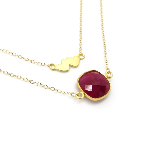 Gold Two Hearts + Ruby Pendant Layer Necklace