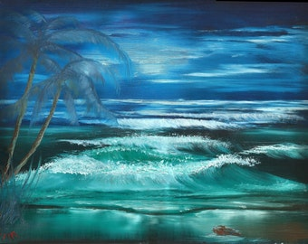 ORIGINAL Ocean Scene by Beverly Marshall water palm trees sea waves wave sunset blue green sky moon clouds sunrise night beautiful