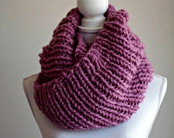 chunky knitted scarf, infinity scarf, pink scarf, sale