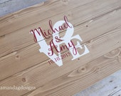 LOVE Personalized Guest Book Alternative Wooden Sign