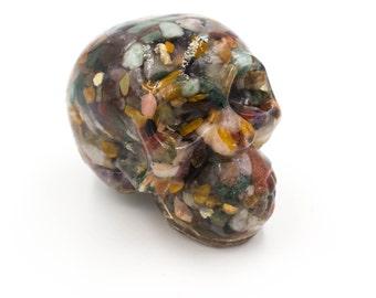 Gemstone Skull in Resin Protection Gemstones Skull