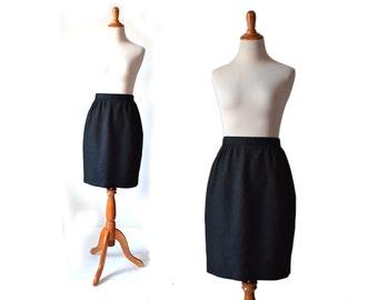 Black Skirt, Vintage Pencil Skirt, Black Pencil Skirt, Black Short Skirt, WOmens Skirt, Vintage Skirt, Small Skirt