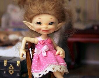 Pink dot dress Realpuki Soso outfit clothes tiny bjd doll