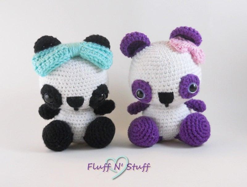 Kawaii Panda Amigurumi : Cute Amigurumi Crochet Panda Bear Kawaii Plushie Made to