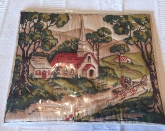 Church Scene, Quilted, Trapunto, Wall Hanging, Frame it! Christian